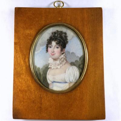 Portrait miniature sur ivoire, époque Empire