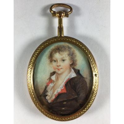 rare portrait d'enfant en miniature, époque Louis XVI