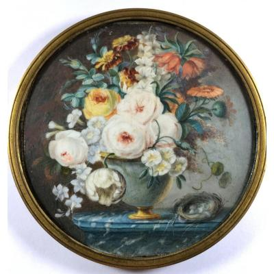 Flowers On A Marble Entablature, Still Life Miniature On Ivory, End Of  18th Century