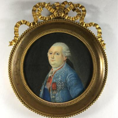Louis XVI, Miniature Portrait On Ivory, 18th Century