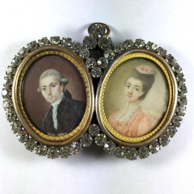 Paire de miniature, époque Louis XVI, double cadre en strass du XIXeme