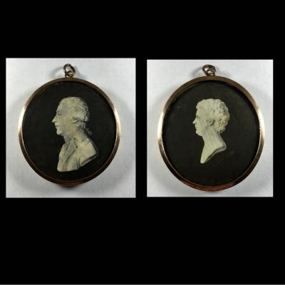 Miniature Portrait Of Mrs Georges Couthon And Charles Duval Depremenil Revolution Signed Langlois