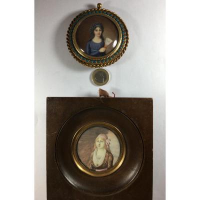 portrait miniature, lot de 2 , dame à l'éventail, dame aux créoles,  fin XVIII siècle.