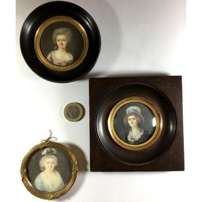 Portrait miniature, lot de 3 , XVIIIème siècle.