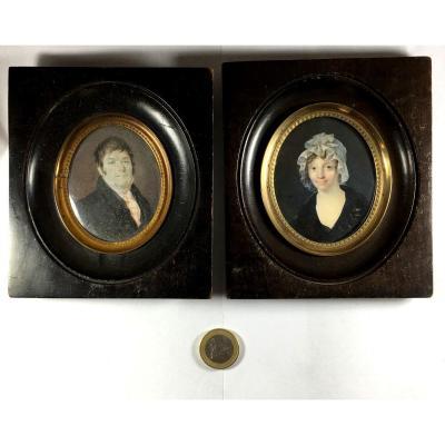 Portrait miniature, lot de 2 , l'homme signé Martin et identifié : Mr William Holt,  XIX ème siècle.