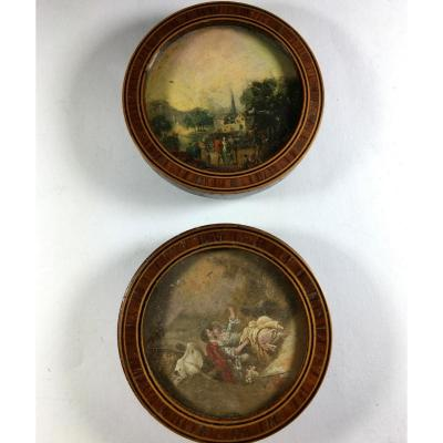 Miniature Landscape, Lot Of 2, Marquetry Frames,  19th Century.