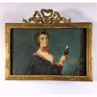 Portrait miniature sur vélin, époque Louis XV, cadre  du XIXe siecle