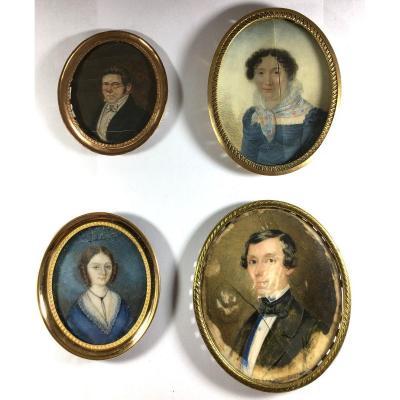 Portrait miniature, lot de 4 ,  1 signée Heidermane 1850,  XIX ème siècle.