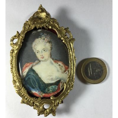 Miniature Portrait On Ivory, Louis XIV Period, Circa 1715,  Later Rococo 19th Frame