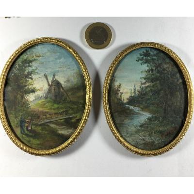 paire de gouaches signées E. Duchez, moulin et rivière ,  XXe siècle.