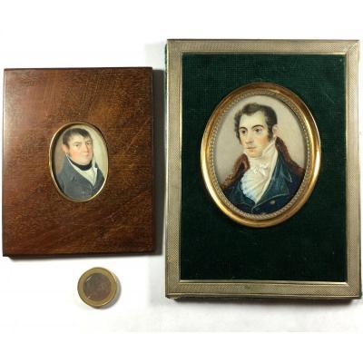 Portrait miniature, lot de 2 , XIX ème siècle.