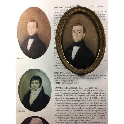 Portrait miniature signé Brunet 1841, publier dans dictionnaire des peintres en miniature