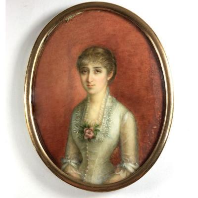 Grand portrait miniature, époque Napoléon III, XIX ème siècle.