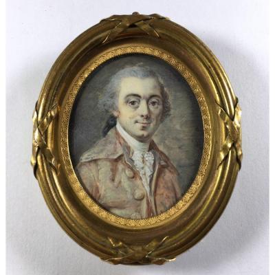 Miniature Portrait Louis XVI Period,18th C. , Gilt Bronze Frame 19th C.