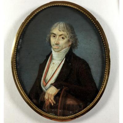 Portrait miniature époque Révolutionnaire, homme tenant ses gants, vers 1790