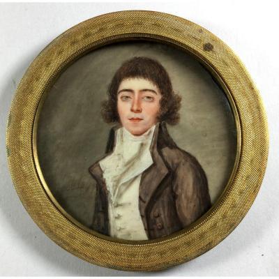 Portrait miniature signé Etienne Motelay,  XVIIIe  siècle.