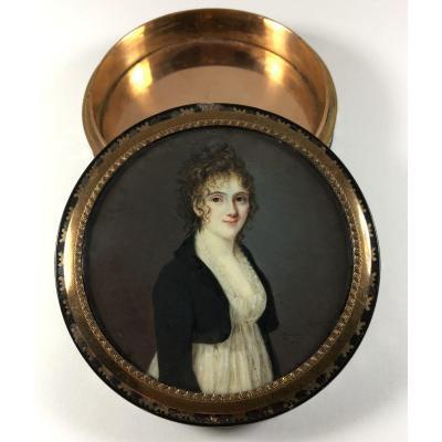 tabatière empire , portrait miniature signé Zender daté 1800