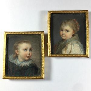 Paire de miniature,  portrait d'enfant, époque Louis XVI, encadrement du XIXeme