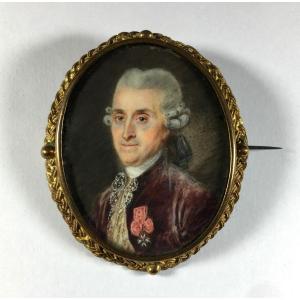 Portrait miniature sur broche, XVIIIe  siècle. croix de Saint-Louis