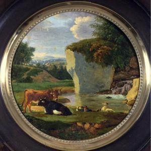 Tableau, vaches et berger au bord d'une cascade, XIXe