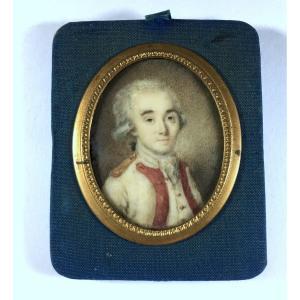 Portrait miniature,  militaire ancien régime , époque Louis XVI, XVIIIe