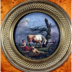 miniature, taureau , mouton et bergère , XVIIIe siècle