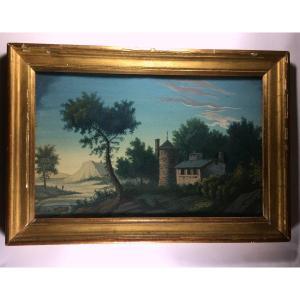 Gouache signée Marcellin Vétillard 1813, paysage, encadrement par Amiot, Le Mans