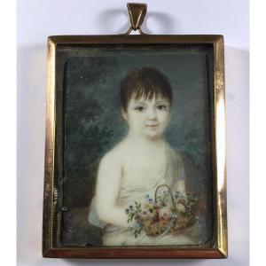 Portrait miniature Empire, enfant, signé, daté 1812