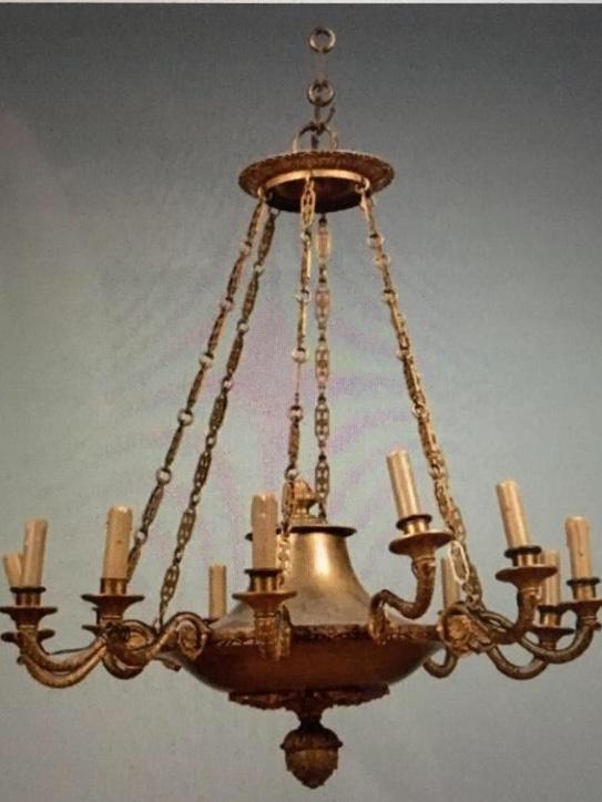 Lustre En Bronze Doré à Douze Lumières , XIXème