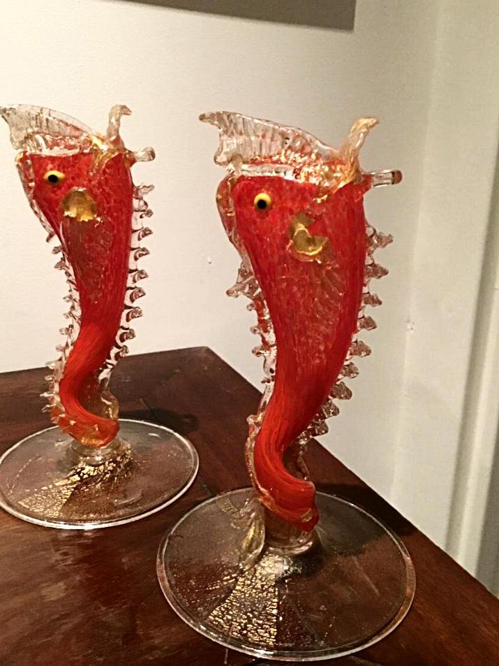 Paire De Vases Poissons. Murano XXème Siècle