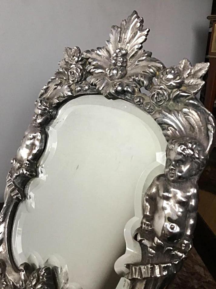Miroir De Toilette Aux Putti , Bronze Argenté, XIXème