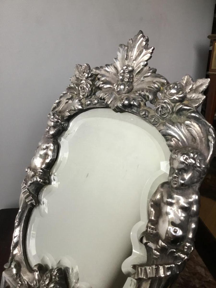Miroir De Toilette Aux Putti , Bronze Argenté, XIXème-photo-2