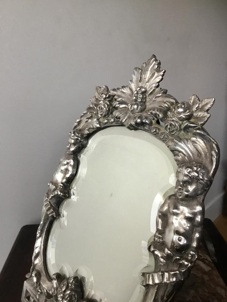 Miroir De Toilette Aux Putti , Bronze Argenté, XIXème-photo-3