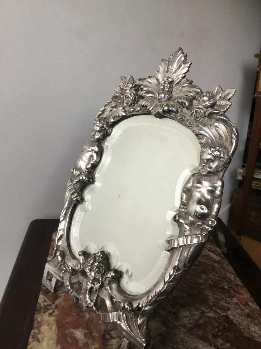 Miroir De Toilette Aux Putti , Bronze Argenté, XIXème-photo-4