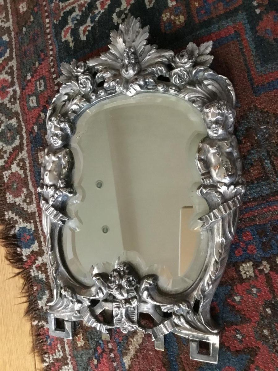 Miroir De Toilette Aux Putti , Bronze Argenté, XIXème-photo-1