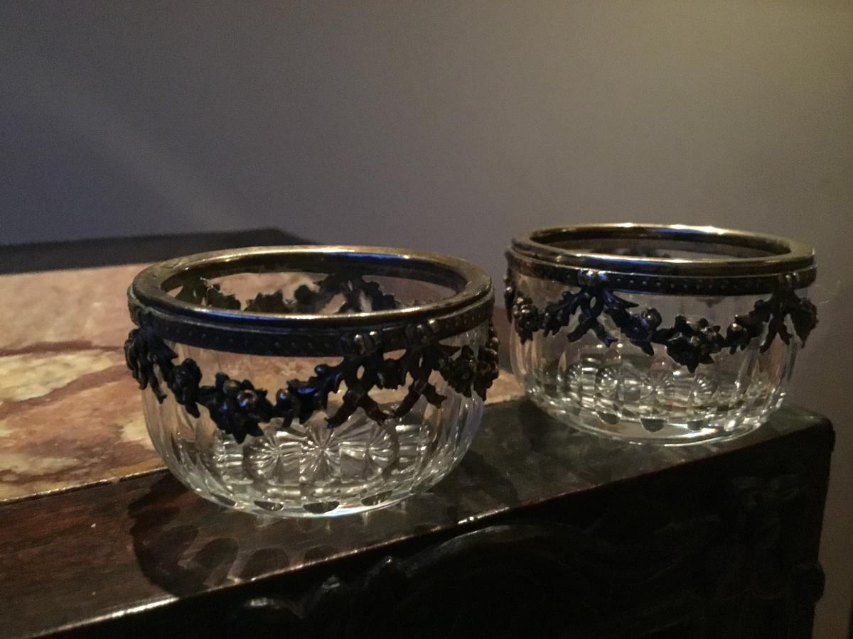 Saltcellars Crystal And Silver, Nineteenth