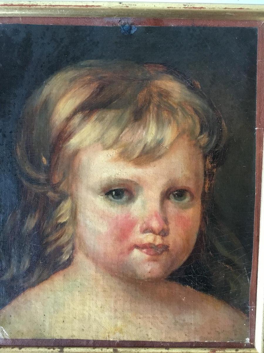 Portrait D'enfant , Huile Sur Toile, XIXème