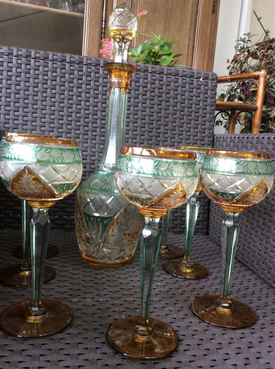 Seven Stemmed Glasses And Crystal Carafe