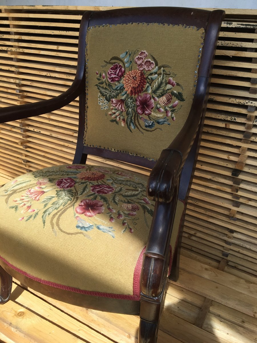Mahogany Armchair Covered With A Tapestry In Point, Nap III