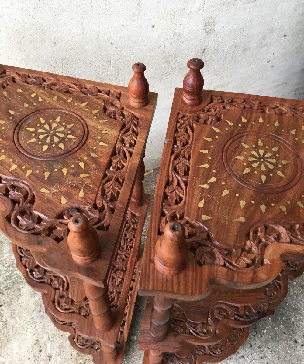 Pair Of Brass Inlaid Corner Cabinets