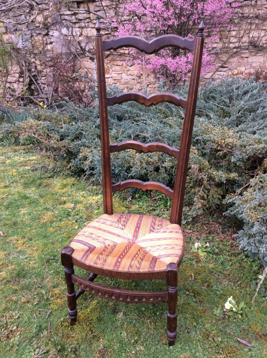 Nursery Chair With Multicolored Straw Seat