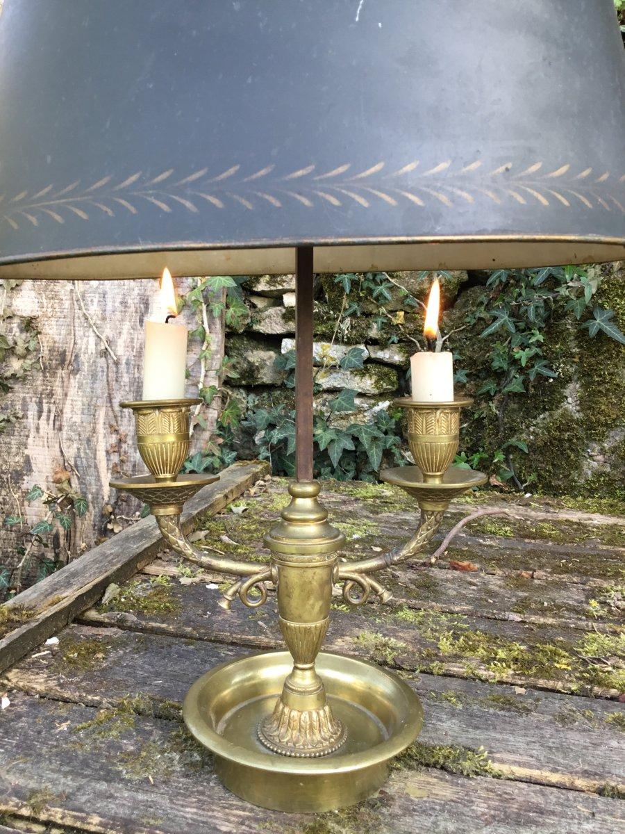 Lampe Bouillotte Au Cors De Chasse , En Bronze Doré