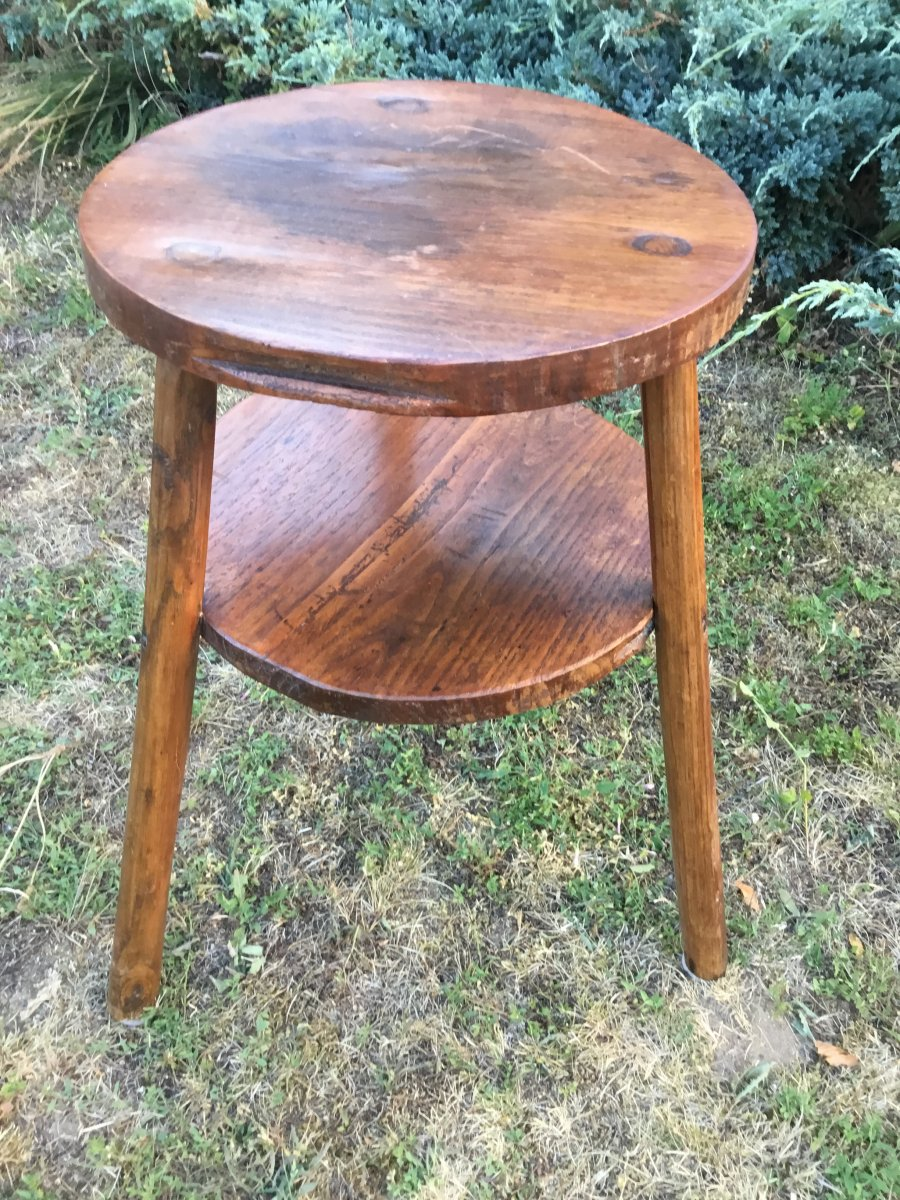 Folk Art, Pegged Pedestal Table With Two Trays