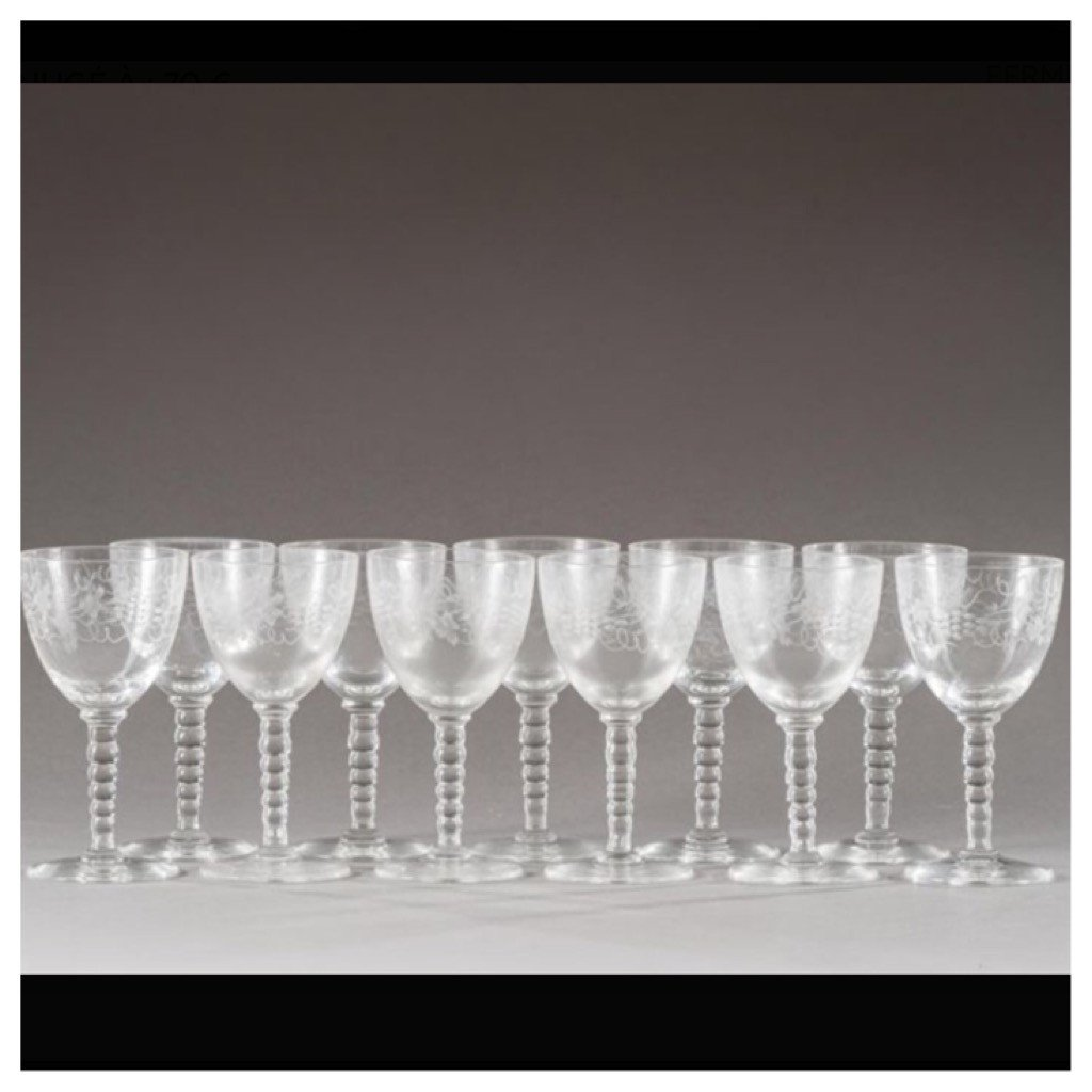 Suite Of 11 Cut And Engraved Crystal Glasses Nineteenth
