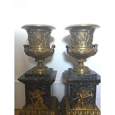 Paire De Cassolettes, Bronze Et Marbre , D'après Thomire