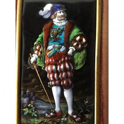Émail Polychrome Peint Sur Cuivre, XIXème