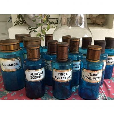 Large Pharmacy Flasks In Blue Glass, Nineteenth