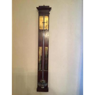 Baromètre-thermomètre En Placage d'Acajou Flammé, XIXème