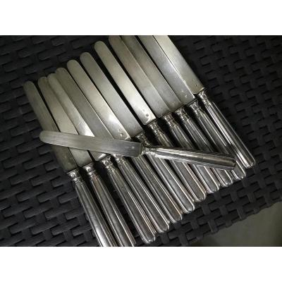 Douze Couteaux à Dessert En Argent 950