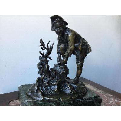 Sujet En Bronze Page Laçant Son Soulier, XIXème